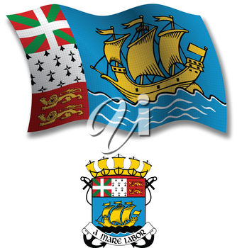 saint pierre and miquelon shadowed textured wavy flag and coat of arms against white background, vector art illustration, image contains transparency transparency