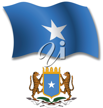 somalia shadowed textured wavy flag and coat of arms against white background, vector art illustration, image contains transparency transparency