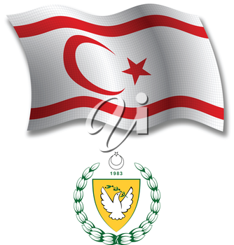 turkish republic of northern cyprus shadowed textured wavy flag and coat of arms against white background, vector art illustration, image contains transparency transparency