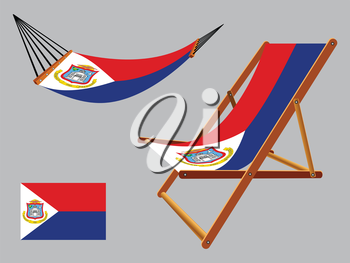 saint martin hammock and deck chair set against gray background, abstract vector art illustration