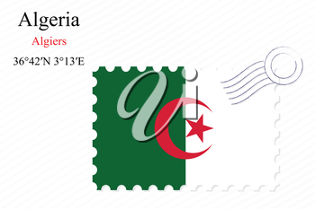 algeria stamp design over stripy background, abstract vector art illustration, image contains transparency