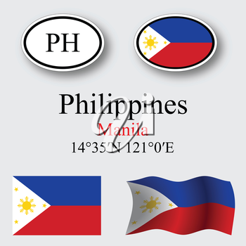 philippines icons set against gray background, abstract vector art illustration, image contains transparency