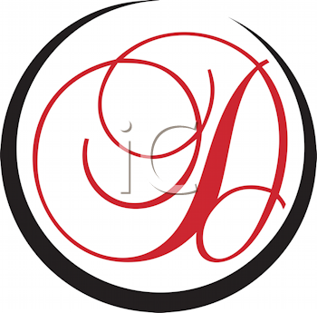 Royalty Free Clipart Image of a D in a Black Circle