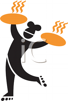 Royalty Free Clipart Image of a Man With Pizza Pans