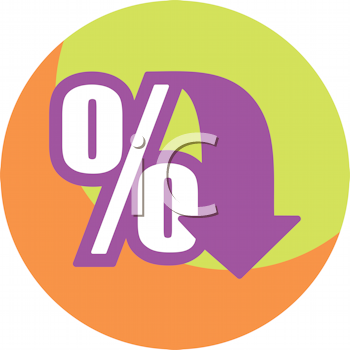 Royalty Free Clipart Image of Zero Percent With an Arrow
