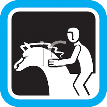 Royalty Free Clipart Image of a Horse and Rider