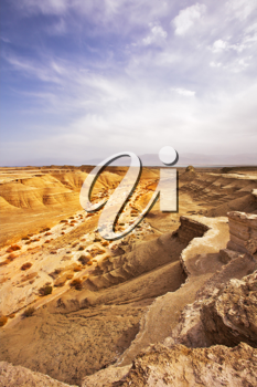 Picturesque ancient mountains and canyon about the Dead Sea in Israel