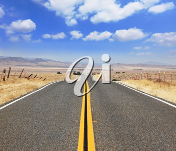 Ideal road. The magnificent l highway through boundless to the desert