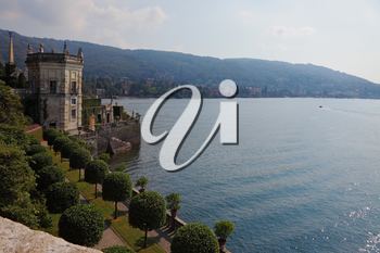 Magnificent seafront. Park on the island of Isola Bella on Lake Maggiore