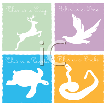 Royalty Free Clipart Image of Cards With a Stag, Dove, Turtle and Snake