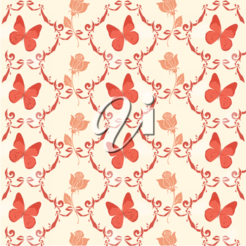 Royalty Free Clipart Image of Roses and Butterflies
