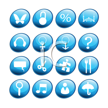 Royalty Free Clipart Image of Blue Buttons