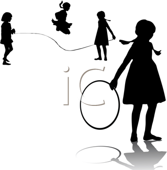 Royalty Free Clipart Image of Children Playing Games
