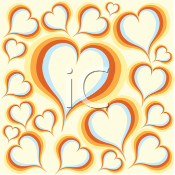 Royalty Free Clipart Image of Hearts on a Yellow Background