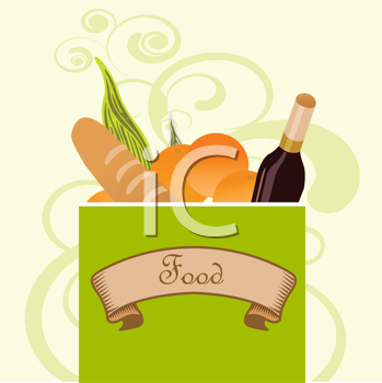 Royalty Free Clipart Image of a Bag of Food