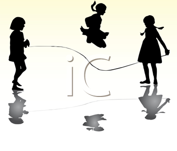Royalty Free Clipart Image of Girls Skipping