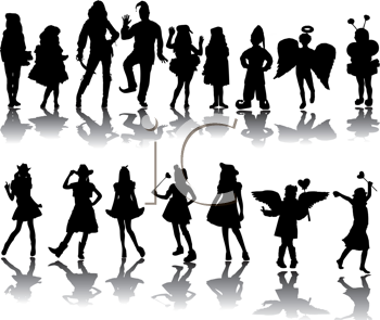 Royalty Free Clipart Image of a Group of People in Costume