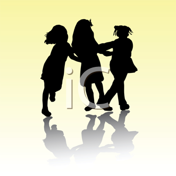 Royalty Free Clipart Image of Little Girls Playing