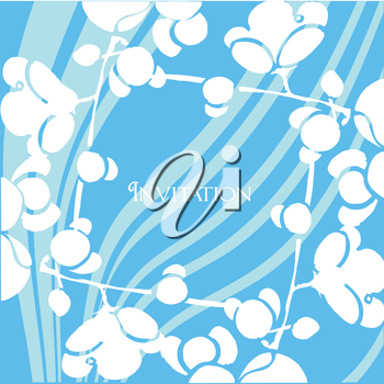 Royalty Free Clipart Image of an Invitation With Flowers and a Blue Swirly Striped Background