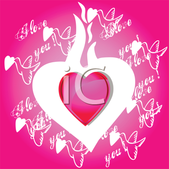 Royalty Free Clipart Image of a Flaming Heart With Doves and I Love You Around the Outside