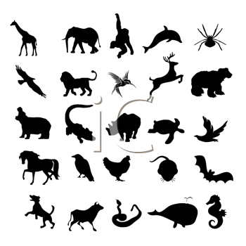 animals silhouettes,wild and pets, etc