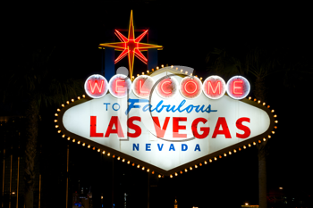 Royalty Free Photo of the Las Vegas Sign at Night