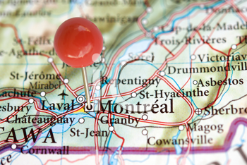 Royalty Free Photo Showing a Map With Montreal Quebec Marked