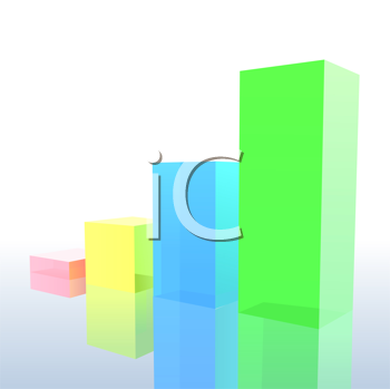 Royalty Free Clipart Image of a Coloured Block Chart