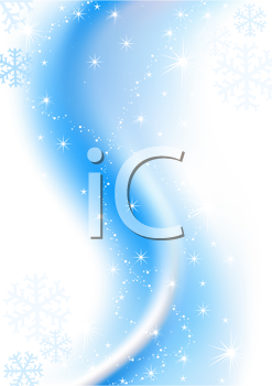 Royalty Free Clipart Image of a Snowy Blue Background