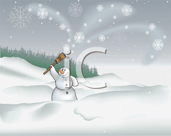 Royalty Free Clipart Image of a Winter Scene With a Snowman Waving His Broom