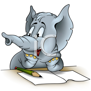 Royalty Free Clipart Image of a Writing Elephant