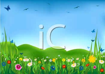 Royalty Free Clipart Image of a Flowering Meadow