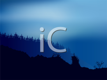 Royalty Free Clipart Image of a Blue Forest Landscape