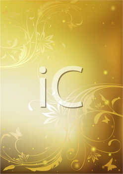 Royalty Free Clipart Image of a Golden Floral Background