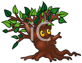 Royalty Free Clipart Image of a Surprised Tree