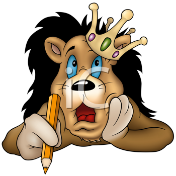 Royalty Free Clipart Image of the King of Beasts With a Pencil