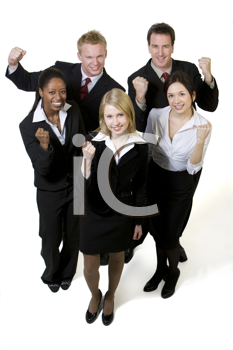 Royalty Free Photo of a Multi-Racial, Multi-Gender Group of Businesspeople With Raised Fists