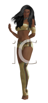 Royalty Free Clipart Image of a Woman in Clothes With Native Designs