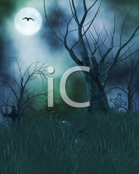 Royalty Free Clipart Image of a Graveyard at Night
