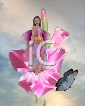 Royalty Free Clipart Image of a Fairy in a Flower With a Butterfly