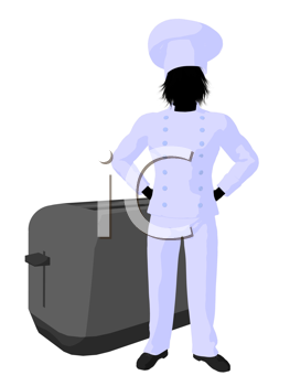 Royalty Free Clipart Image of a Chef With a Toaster