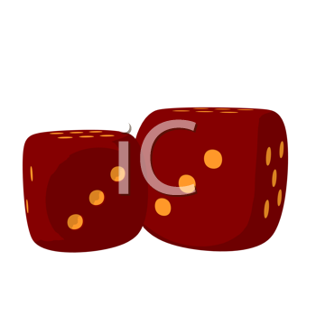 2 red dice on a white background