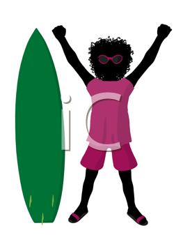 Royalty Free Clipart Image of a Girl With a Surfboard