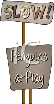 Royalty Free Clipart Image of a Penguins at Play Message