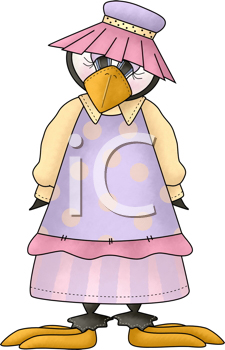 Royalty Free Clipart Image of a Penguin in Clothes