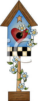 Royalty Free Clipart Image of a Birdhouse With Flowers