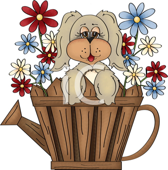Royalty Free Clipart Image of a Puppy in a Watering Can of Flowers