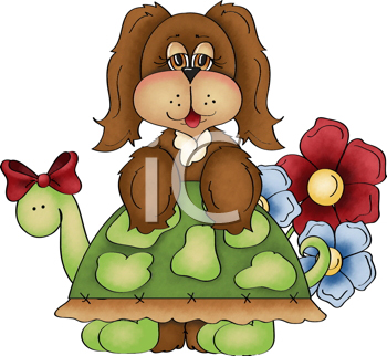 Royalty Free Clipart Image of a Puppy on a Turtle's Back