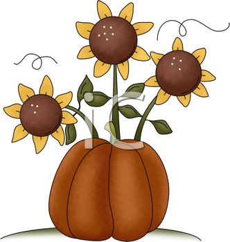 Royalty Free Clipart Image of a Pumpkin and Sunflowers