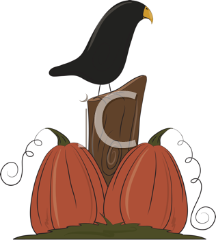Royalty Free Clipart Image of a Crow and Pumpkins